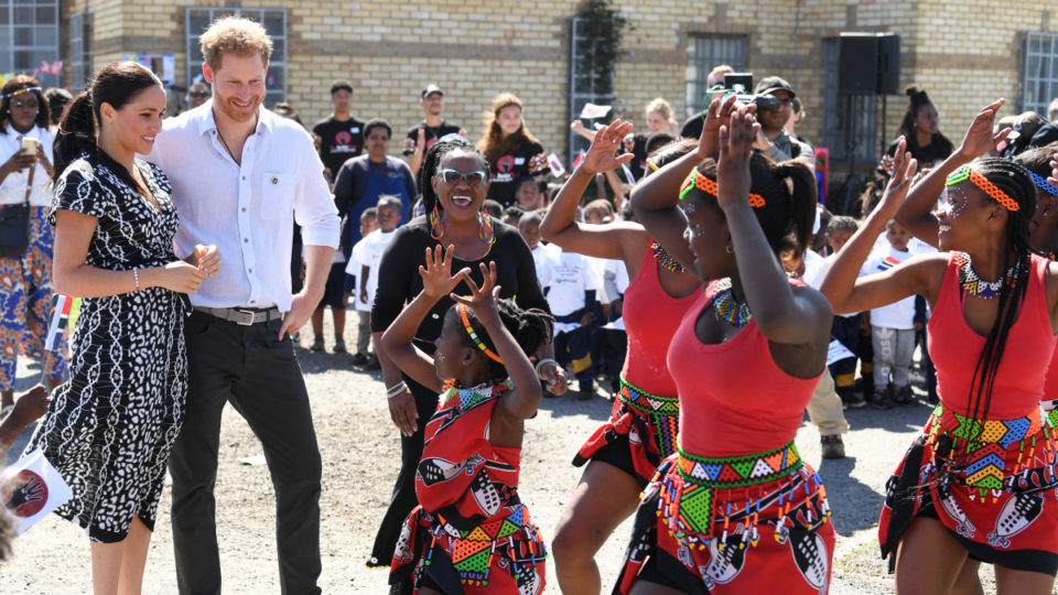 Nyanga locals dace to welcome the royal couple.