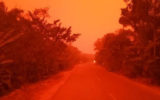 indonesia red sky fires