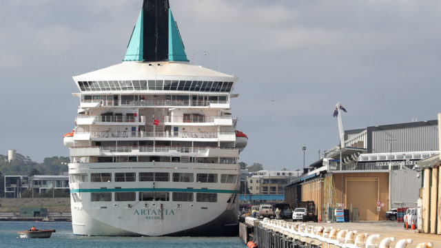 The Artania docked in Fremantle in April.