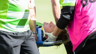 Natasha Prior on a stretcher.