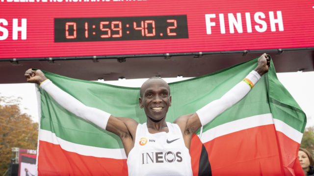 Kenyan runner Eliud Kipchoge runs first-ever marathon in under two hours