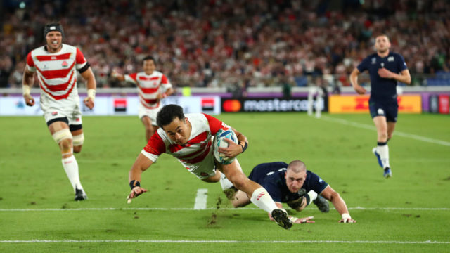 Japan outplays Scotland to make rugby quarter-finals debut