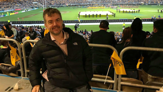 Disability commissioner Ben Gauntlett at the Bledisloe Cup rugby match in Perth in August.