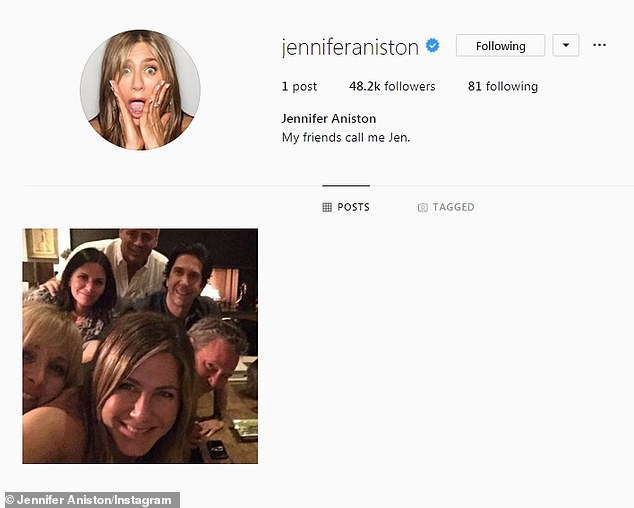 Within minutes Aniston had amassed thousands of followers. Photo: Instagram