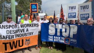 aldi truck drivers protest
