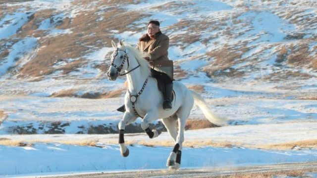 North Korea releases bizarre photos of Kim Jong-un riding a white horse through the snow