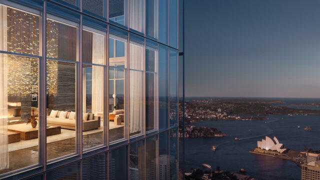 The apartment will span the top three floors of the tallest tower in the One Sydney Harbour development.