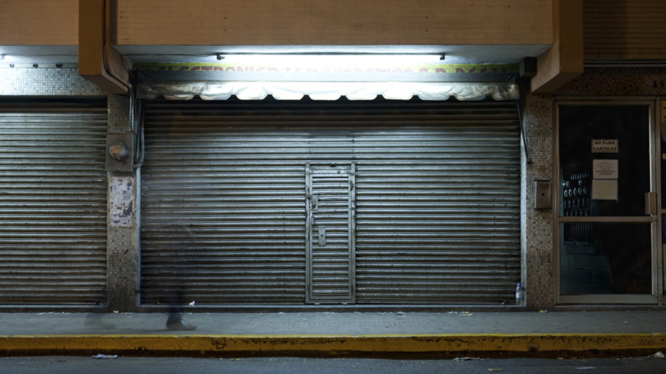 A shuttered storefront.