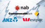 Bank logos on economic charts.