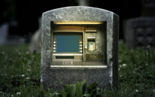 An ATM in a grave.