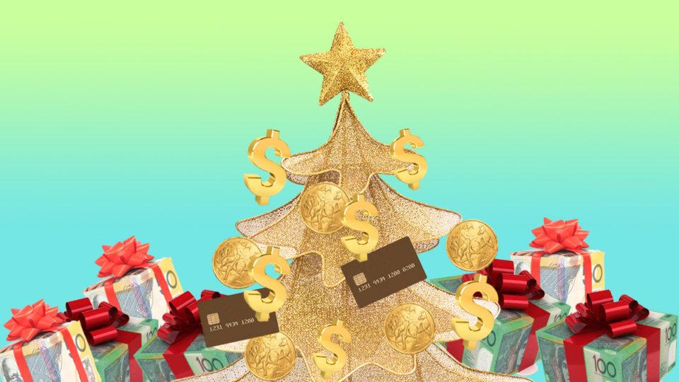 A Christmas tree made of money