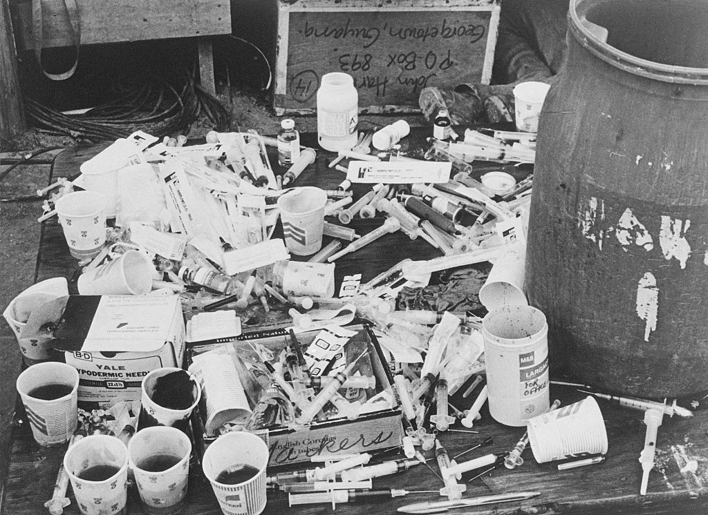 Cups and syringes found at Jonestown.