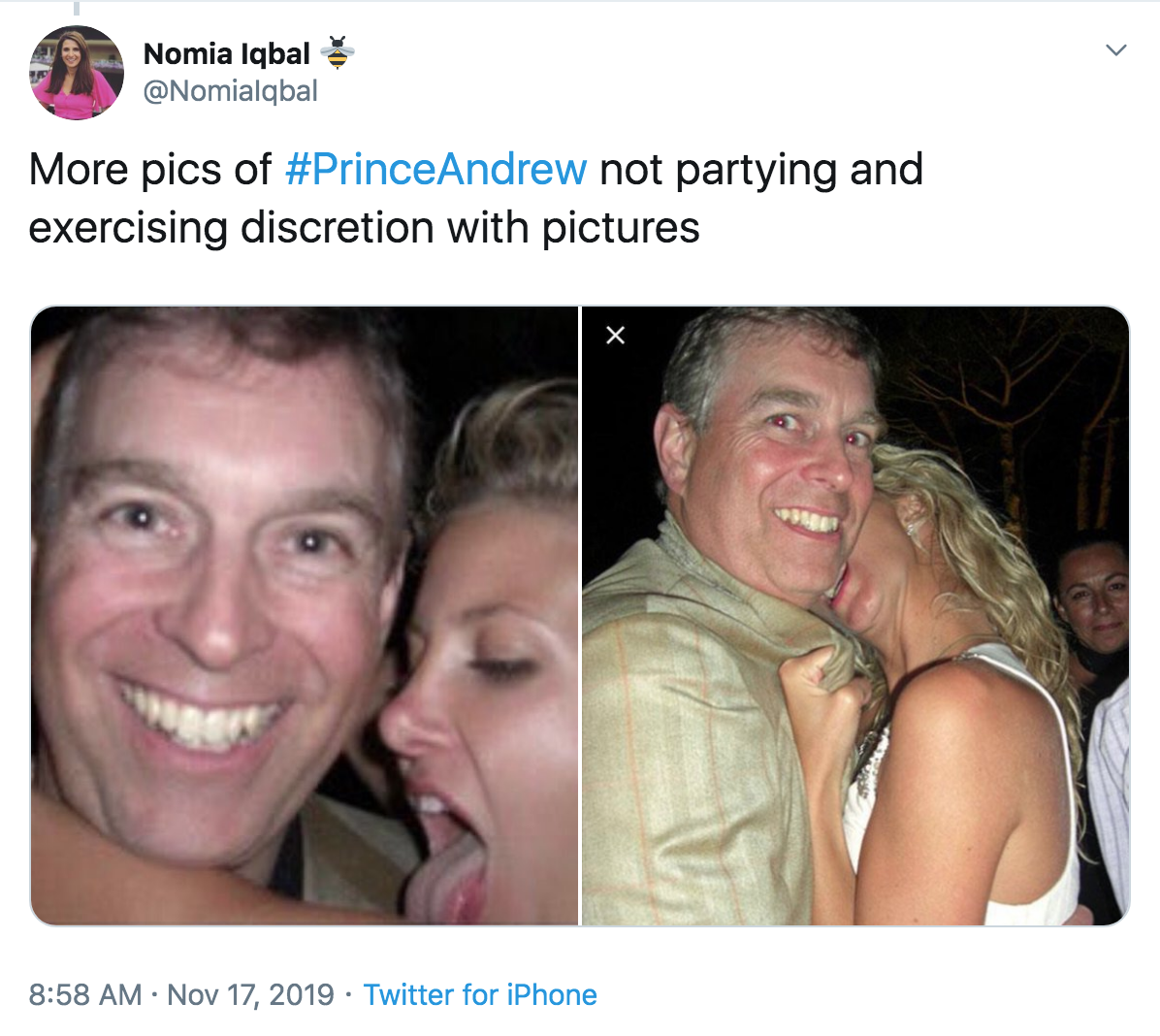 Prince Andrew tweet