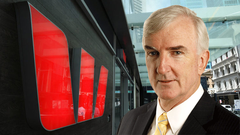 Michael Pascoe in front of a Westpac building.