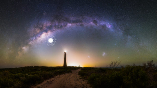 This 28 image photomosaic captures the arch of the milky way over the Guilderton Lighthouse in Western Australia, and the Large and Small Magellanic Clouds. The location of a supernova that would have exploded 9,000 years ago and been visible in the night sky is shown in the image.