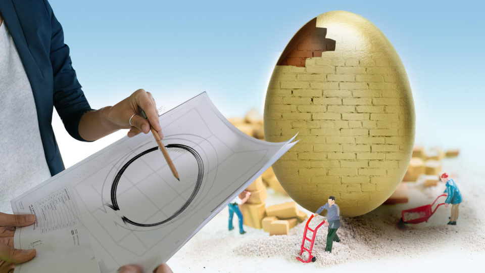 A gold egg under construction.