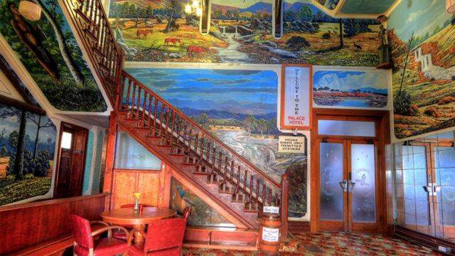The distinctive interior of Broken Hill's Palace Hotel.