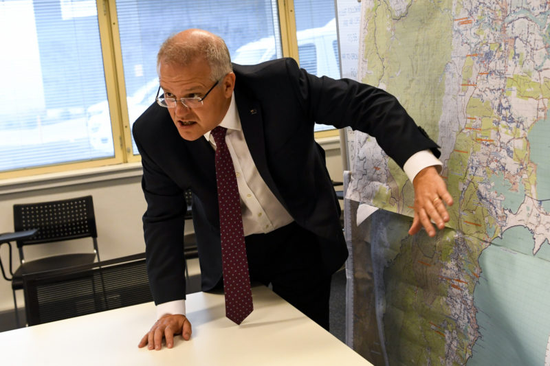 Scott Morrison inspects bushfire map