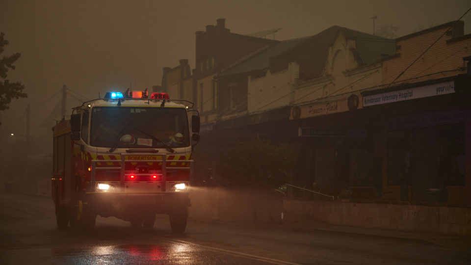 fire truck rain