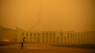 Parliament house is cloaked in bushfire smoke.