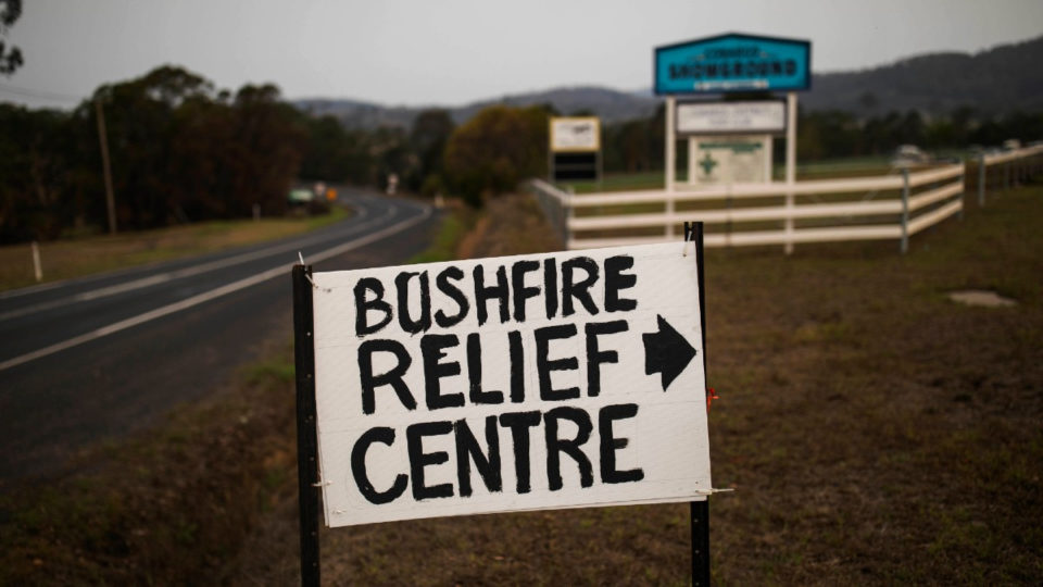 A sign points the way to Cobargo's bushfire relief centre.