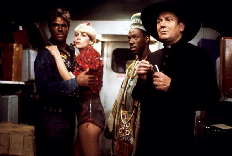 Dan Aykroyd, Jamie Lee Curtis and Eddie Murphy in 1983's Trading Places