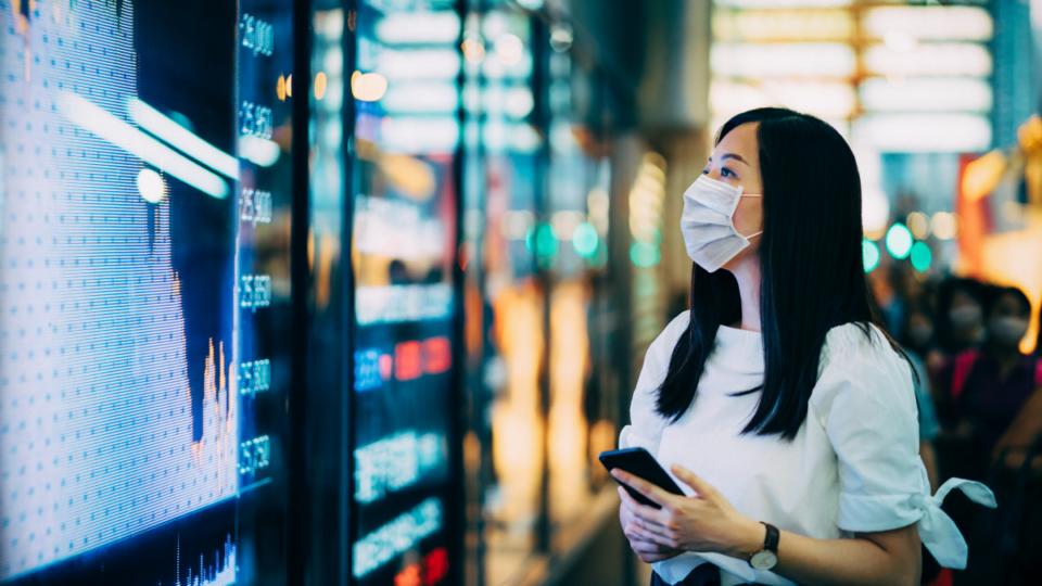 asx sharemarket investing mask woman coronavirus