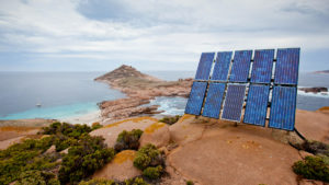 Solar panels on Pearson Island, South Australia.