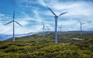 Wind turbines on a wind farm, Albany, Western Australia, Australia - stock photo