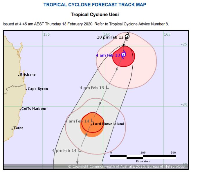 Tropical Cyclone Uesi map