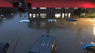 cars under water in storm dennis