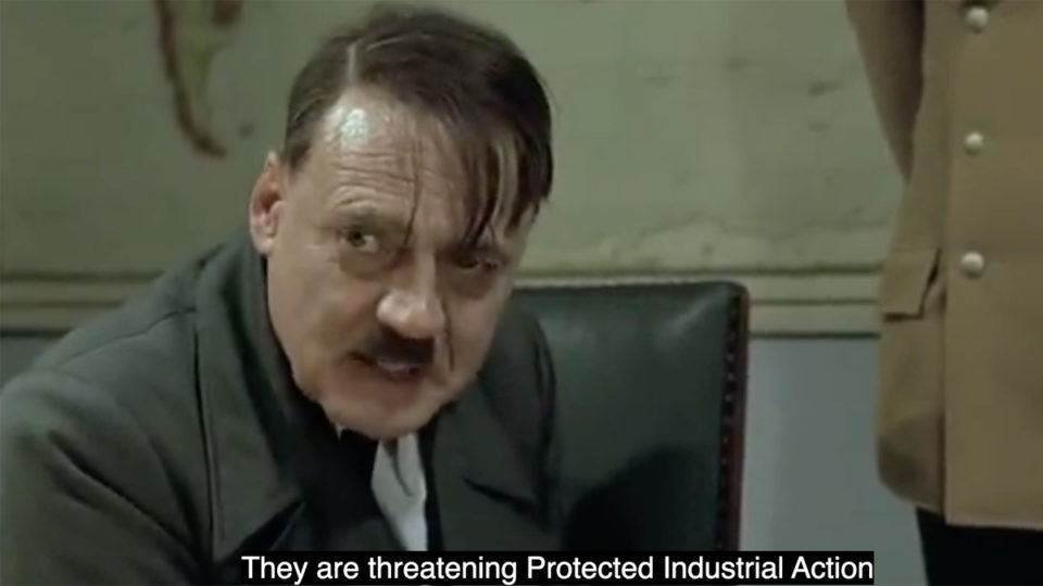 bp worker sacked hitler parody