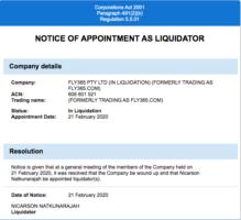 fly365 liquidation