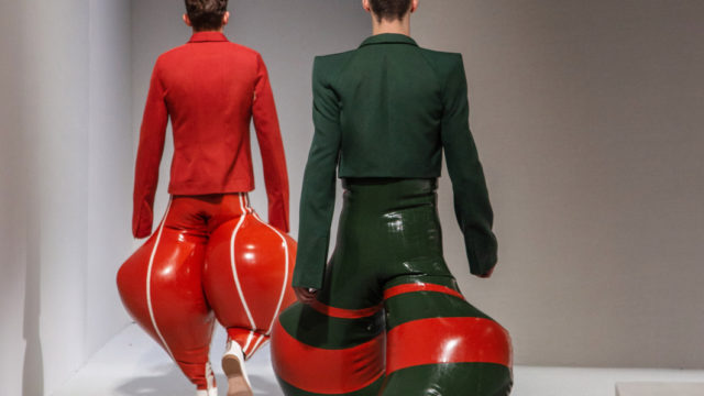 British fashion designer causes a stir with inflatable latex pants