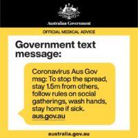 australia coronavirus text message