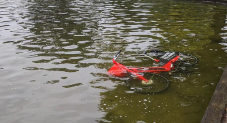 An Uber Jump bike dumped in a pond.