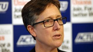 ACTU secretary Sally McManus at a press conference