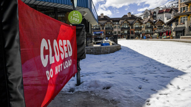 A closed skilift at Vail, in Colorado, where the ski season has ended early due to the coronavirus outbreak.