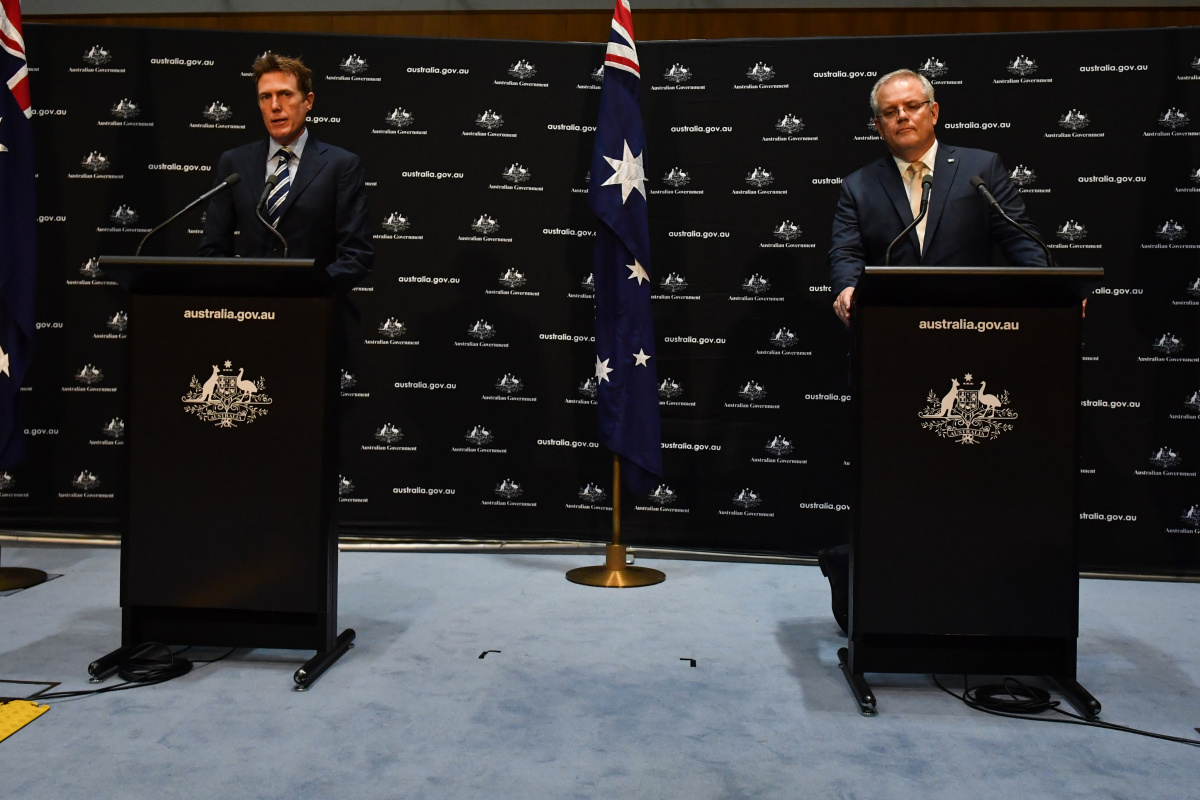 Attorney-General Christian Porter and Prime Minister Scott Morrison at a press conference.