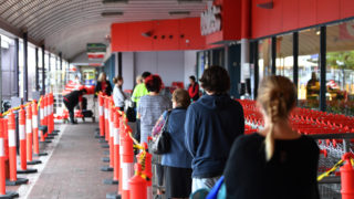 supermarket assault coronavirus queue