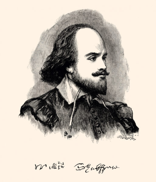 Portrait of William Shakespeare (1564 – 1616) was an English poet, playwright, and actor, widely regarded as the greatest writer in the English language and the world's greatest dramatist.Vintage etching circa late 19th century (1882)