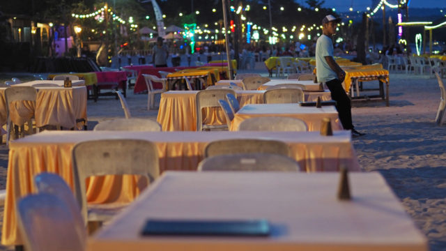 An empty beachside restaurant in Bali – abandoned by tourists amid the coronavirus outbreak.