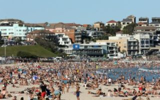 A crowded Bondi Beach