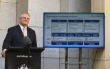 Australian Prime Minister Scott Morrison speaks to the media during a press conference at Parliament House in Canberra, Friday, May 8, 2020