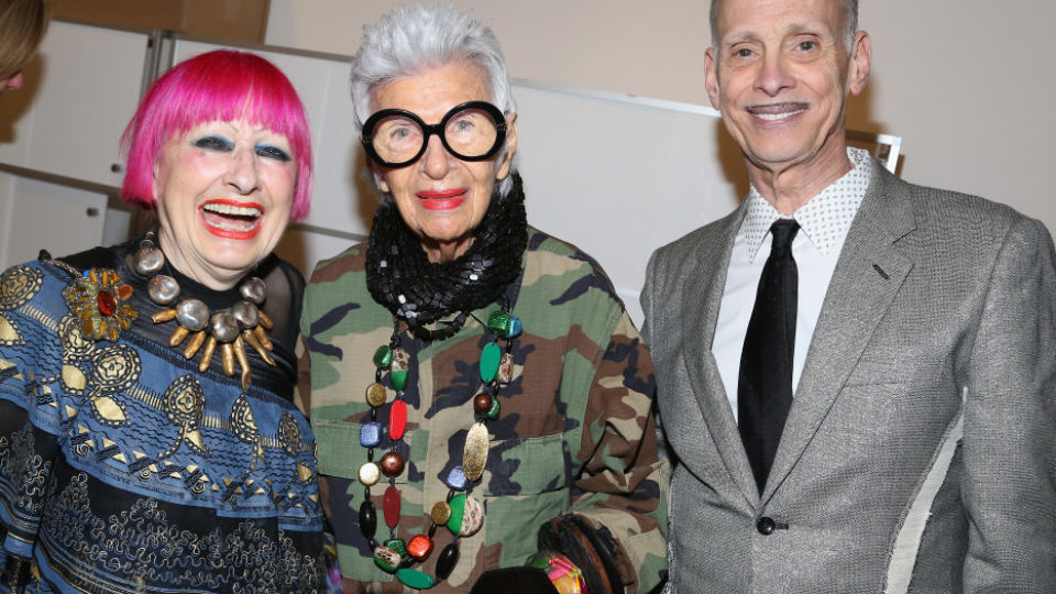 Zandra Rhodes, Iris Apfel and John Waters attend 17th Edition of LOOT: MAD About Jewelry at Museum Of Arts And Design on April 3, 2017 in New York City.