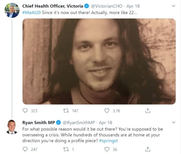 The Victorian Chief Health Officer's #MeAt20 tweet