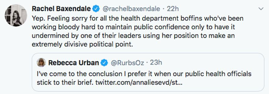 Tweets by Rachel Baxendale and Rebecca Urban