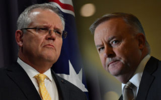 An image of Scott Morrison and Anthony Albanese, both looking grim.