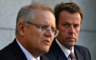 Prime Minister Scott Morrison and Minister for Education Dan Tehan at a press conference at Parliament House