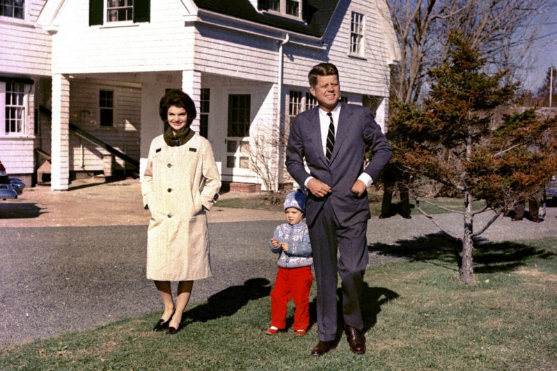 In this Nov. 8, 1960 file photo, John F. Kennedy takes a stroll with his wife Jacqueline Kennedy and their daughter Caroline at Hyannis Port, Mass. The death on Wednesday, June 17, 2020, of Jean Kennedy Smith, the last surviving sibling of President Kennedy, means Camelot's inner circle is almost gone.